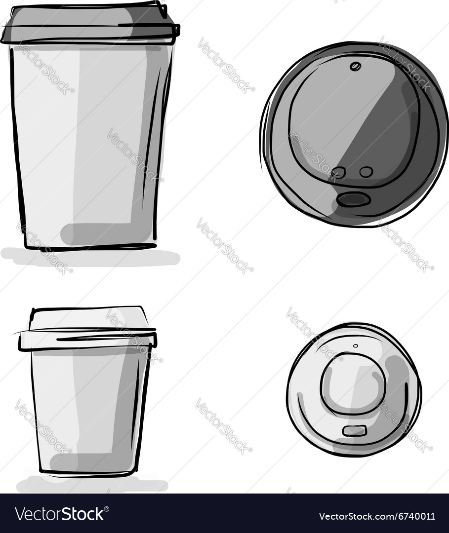 Coffee cup sketch - Take Away Coffee Cup Sketch For Your Design Vector Image