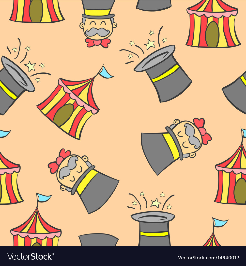 Hat and tent circus doodles vector image