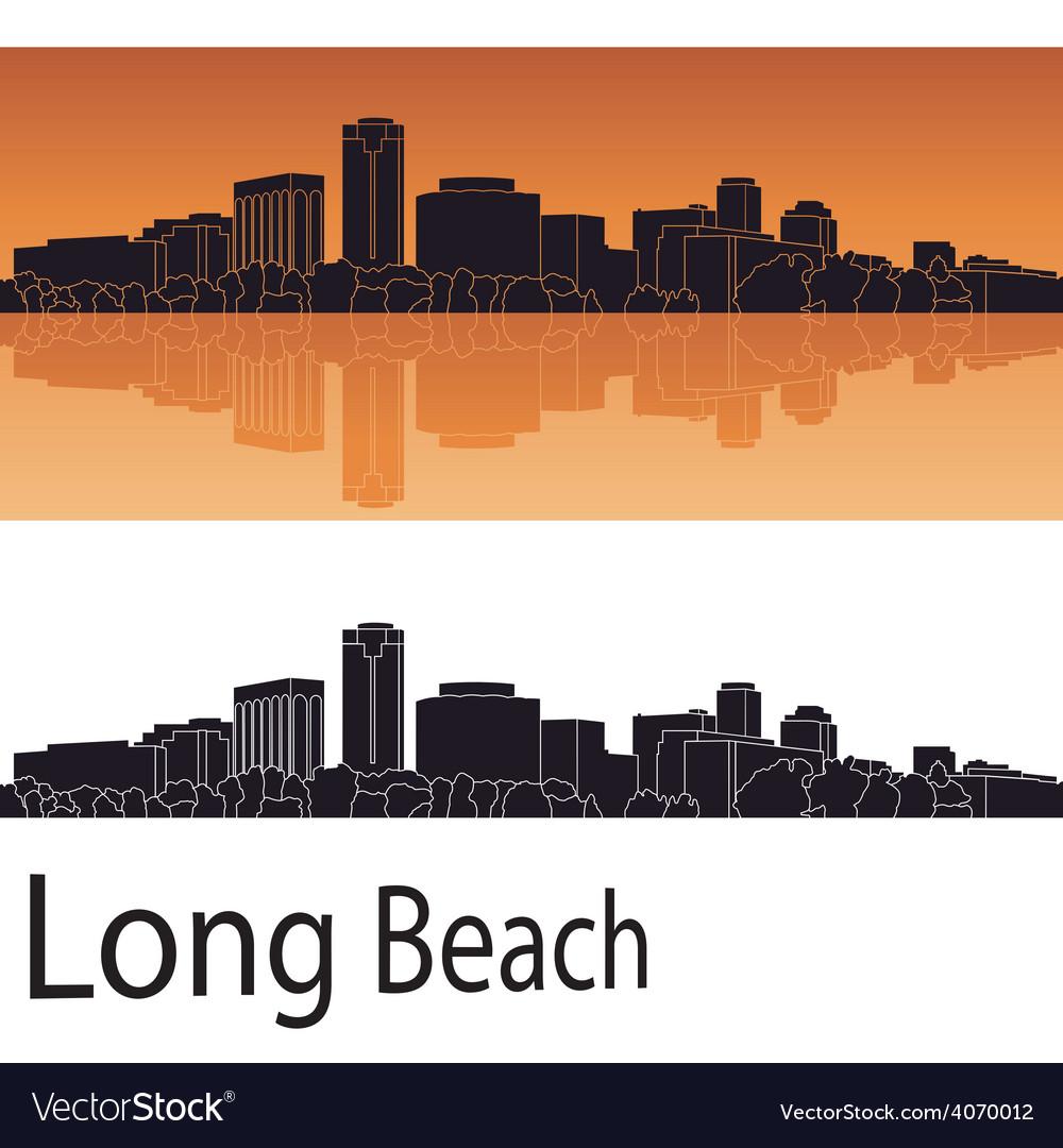 Long Beach skyline in orange background vector image