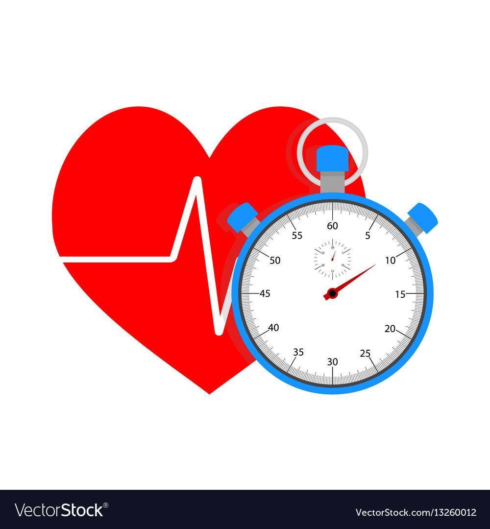 Measure pulse of stopwatch vector image