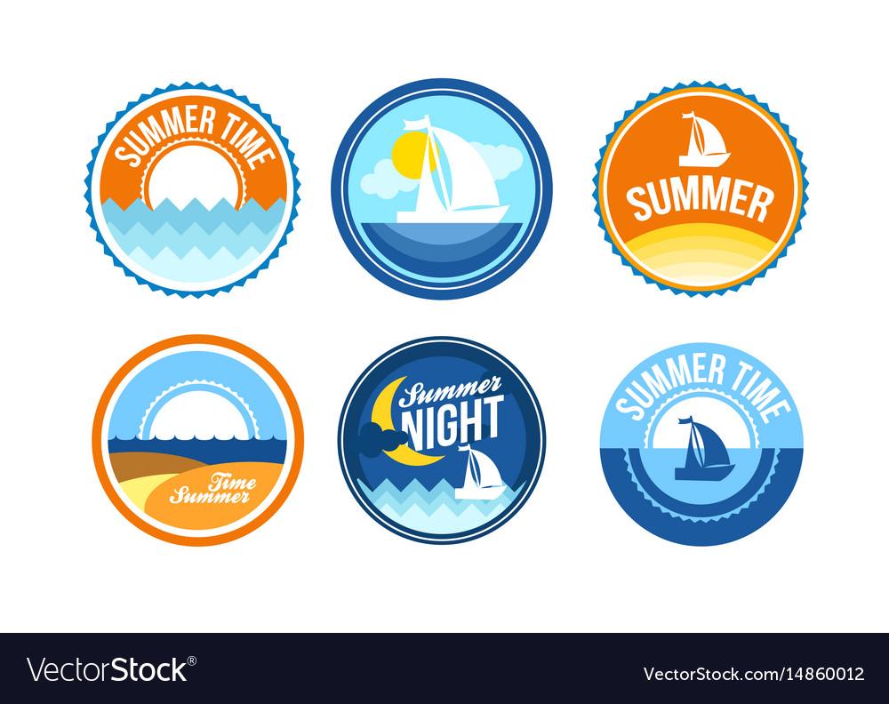 Summer time emblems for travel agency vector image