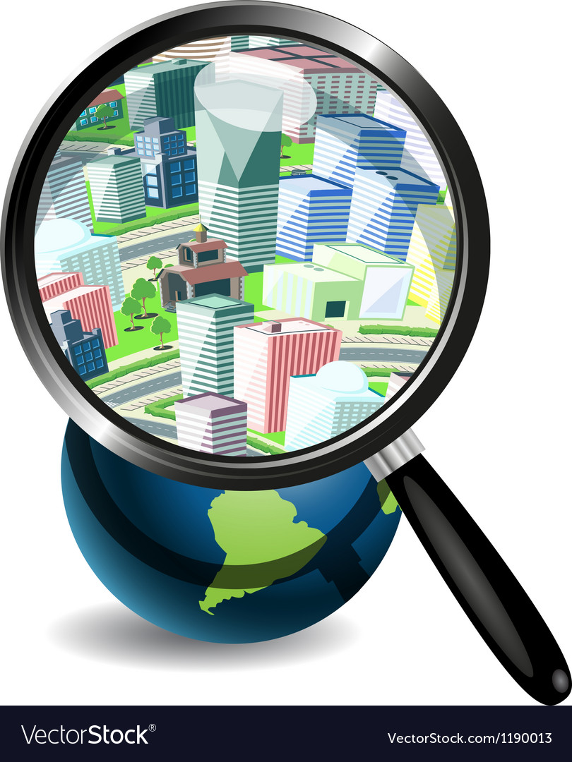 Globe under a magnifying glass and the city vector image