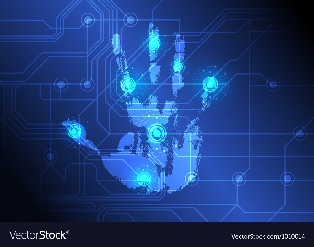 Analysing hand with scanner vector image