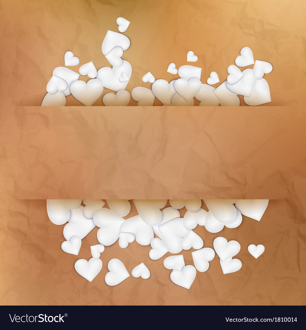 Hearts on vintage paper EPS 10 vector image