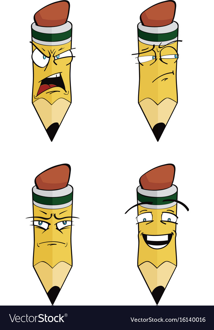 Cartoon pencil set vector image