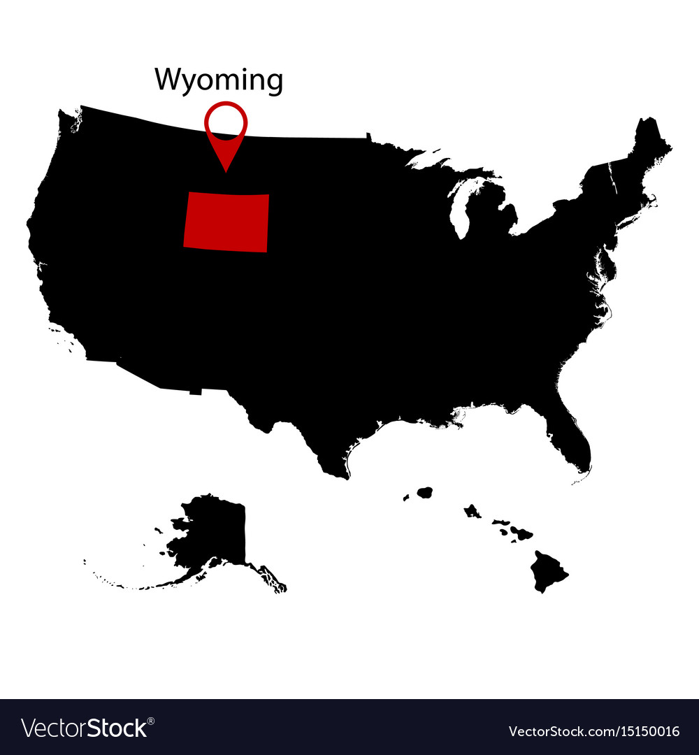 Us State On The Map Wyoming Royalty Free Vector Image - Us map wyoming