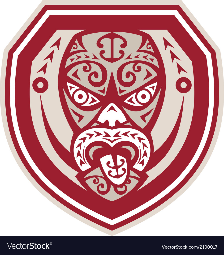 Maori Mask Tongue Out Shield Retro vector image
