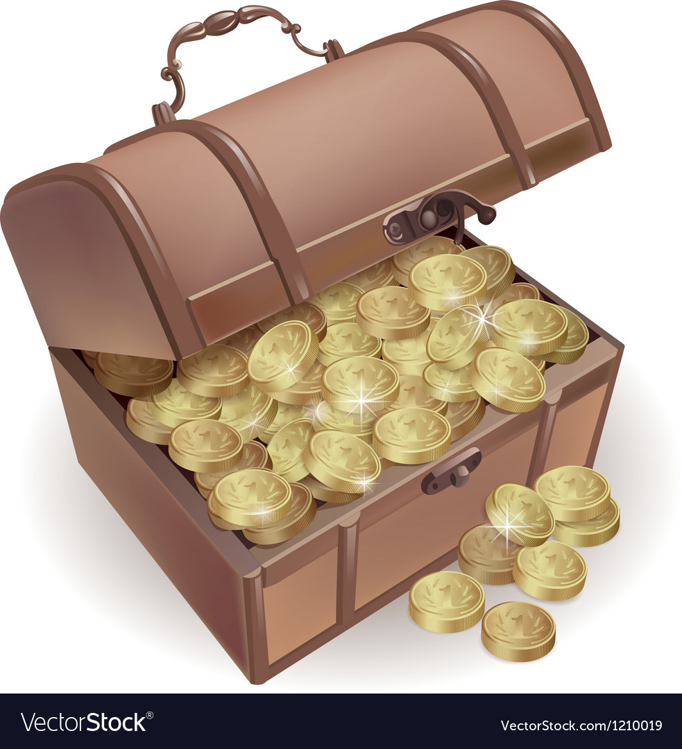 Chest with coins Vector Image
