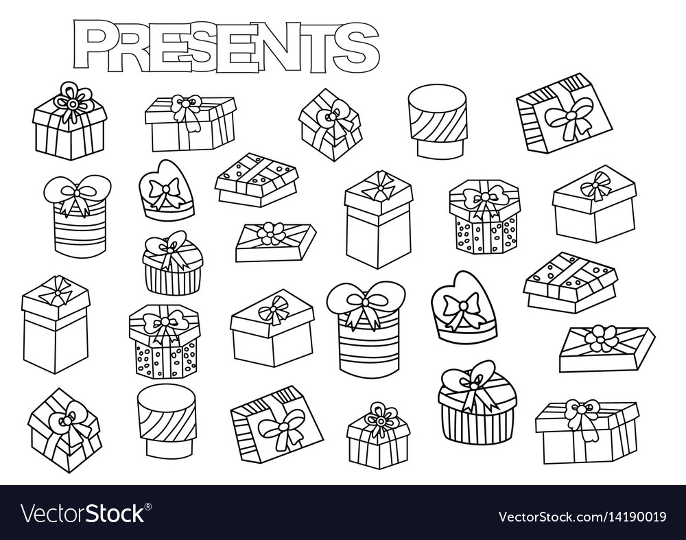 Hand drawn gift boxes set coloring book page Vector Image