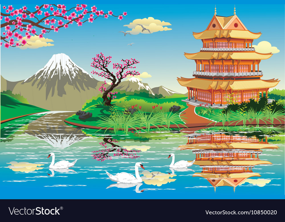 Japanese Palace on a river with swans in black and vector image