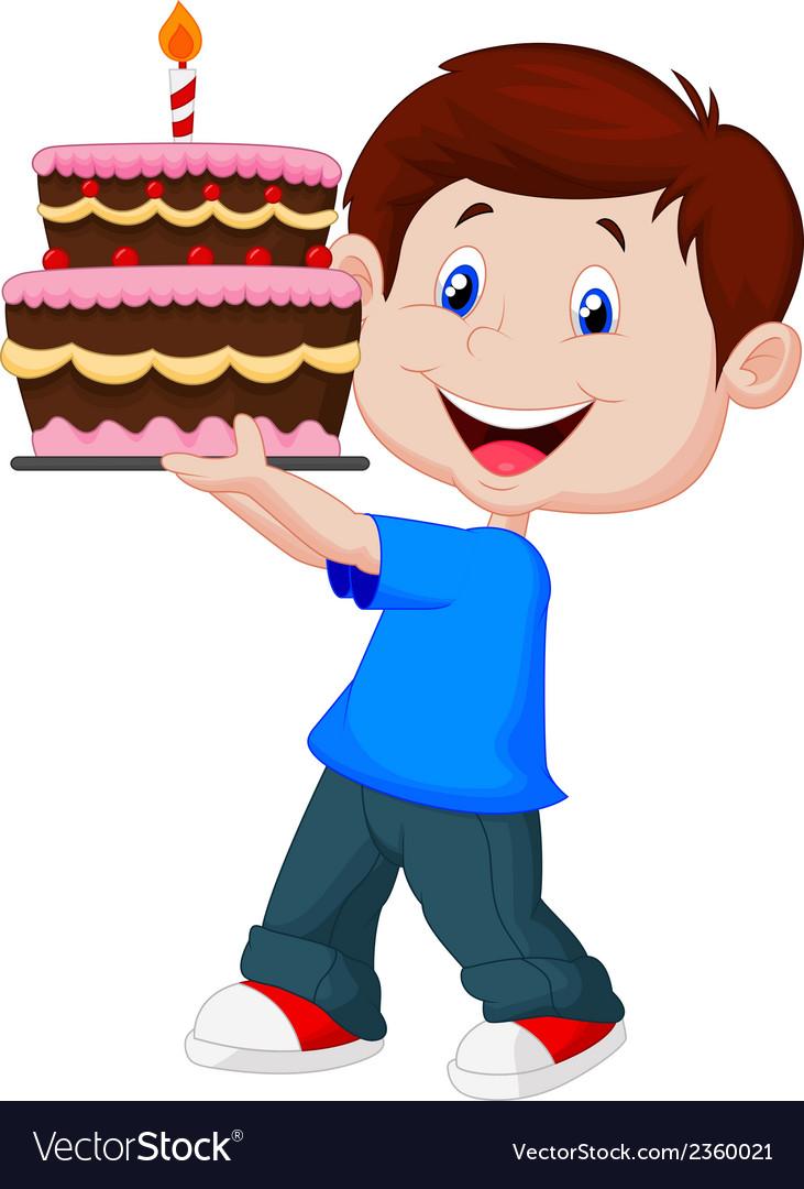 Boy cartoon with birthday cake Royalty Free Vector Image