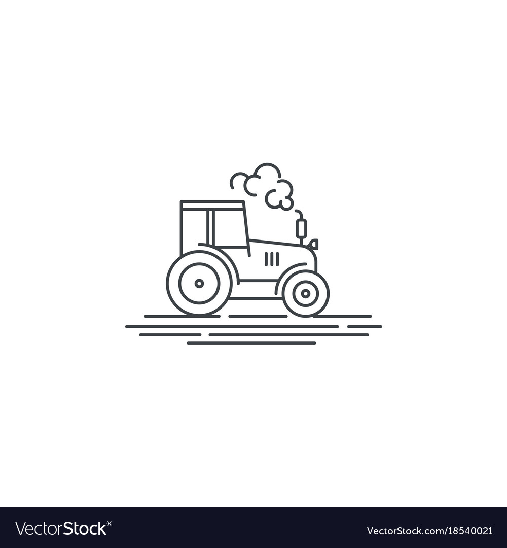Farm tractor line icon outline of vector image