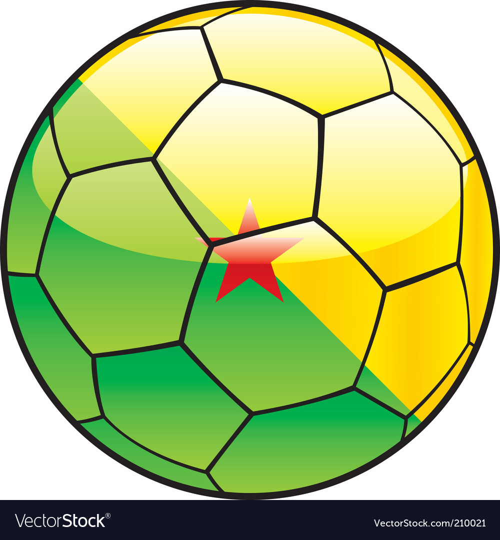 French Guiana flag on soccer ball vector image