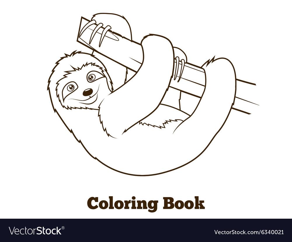 sloth cartoon coloring book royalty free vector image