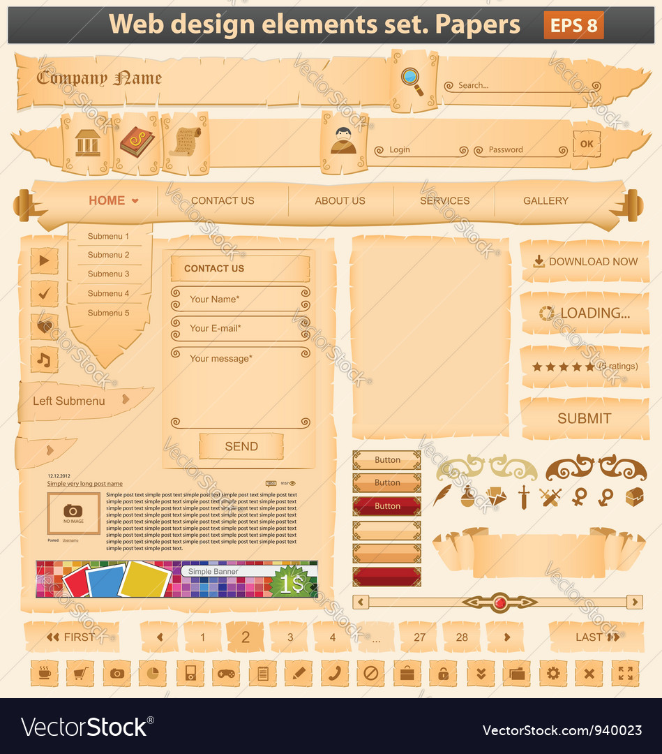 Web design elements set paper Vector Image