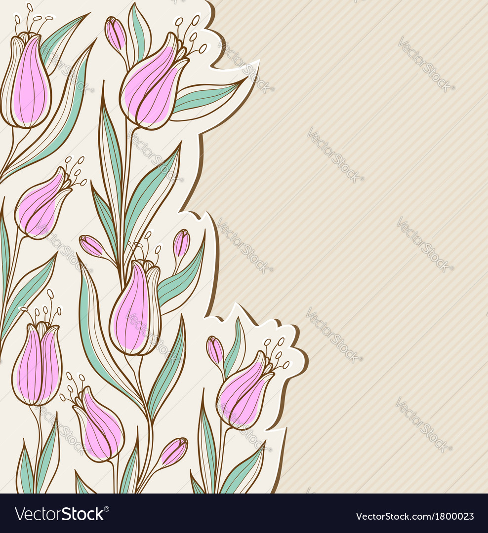 Decorative floral background with pink tulips vector image