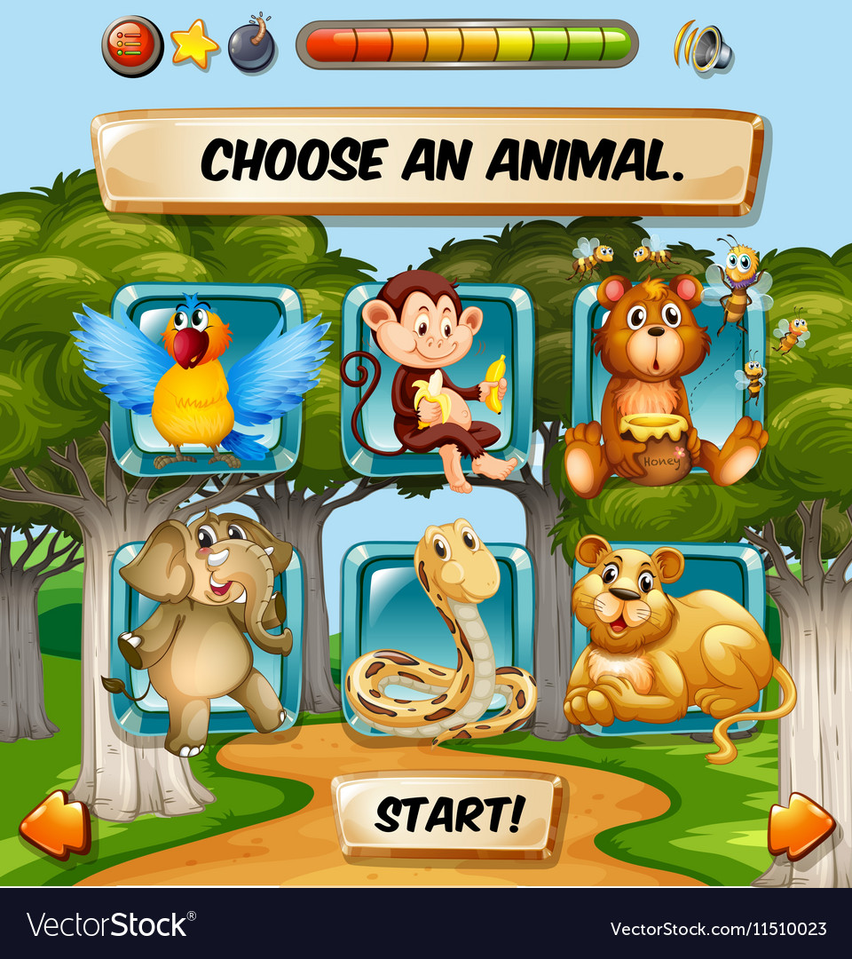 Game template with wild animal characters vector image