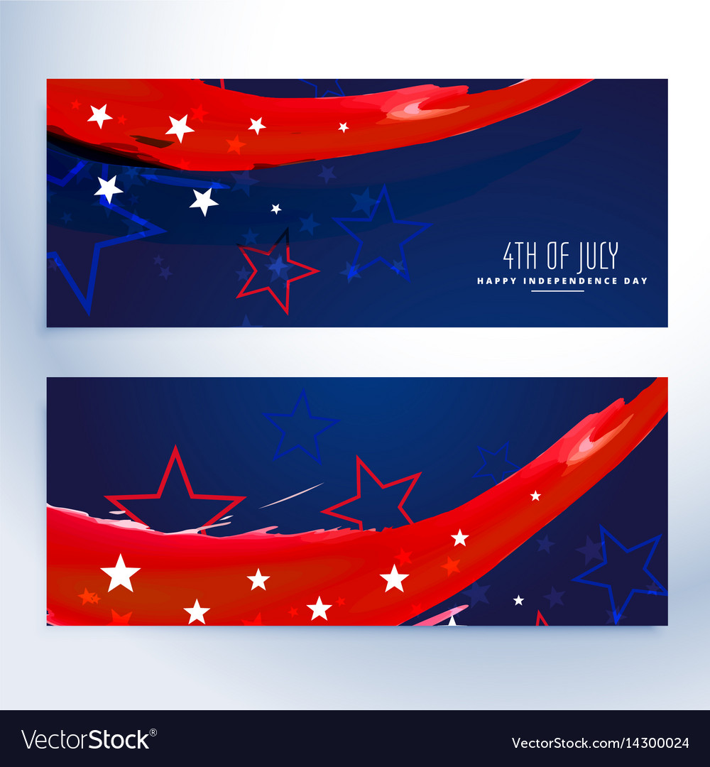 4th of july banners collection vector image