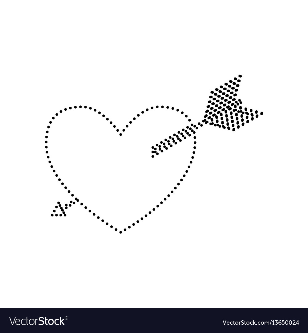 Arrow heart sign black dotted icon on vector image