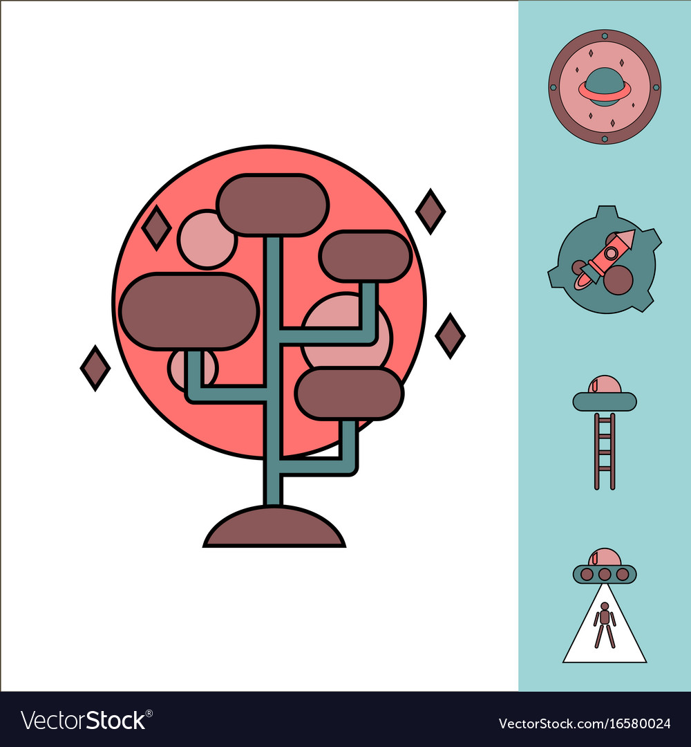 alien spaceship icons set