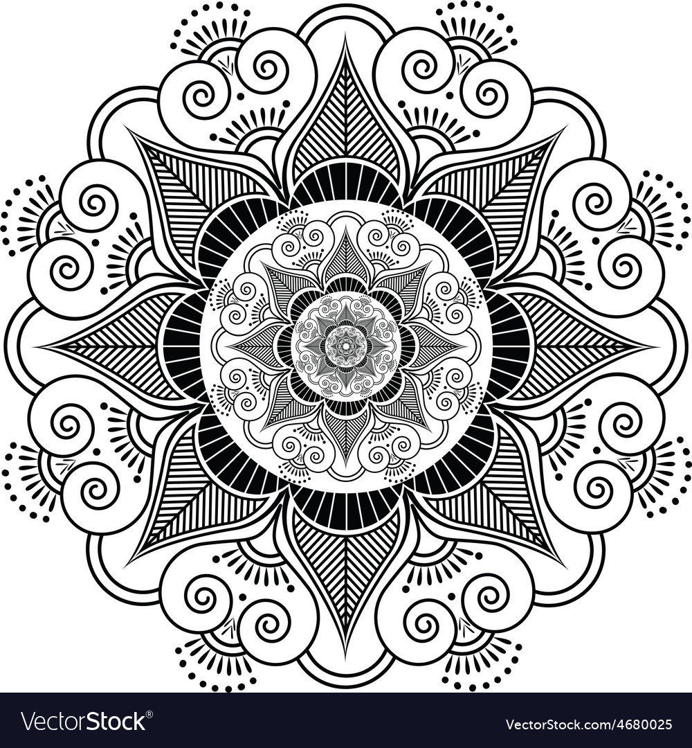 Henna Tattoo Vector: Indian Henna Tattoo Flower Pattern Vector Image By
