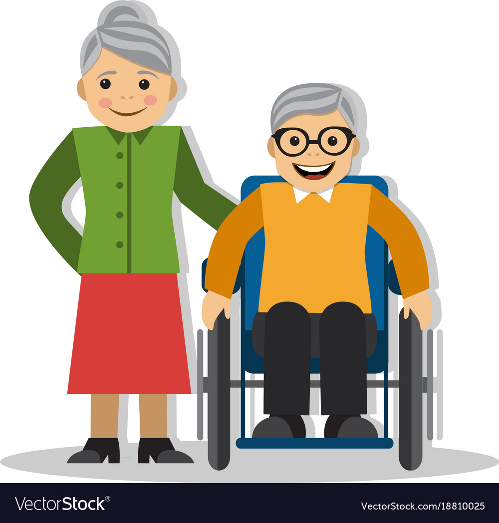 A man on a wheelchair and joy vector image