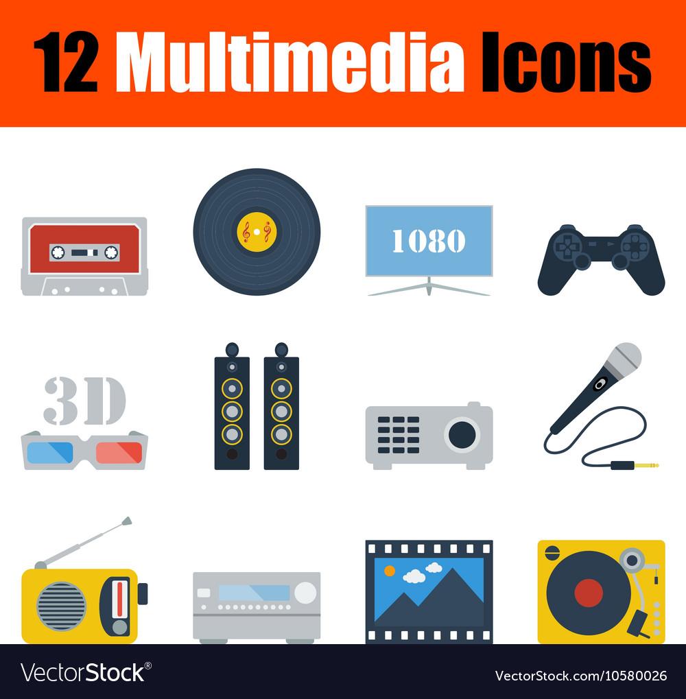 Multimedia icon set vector image