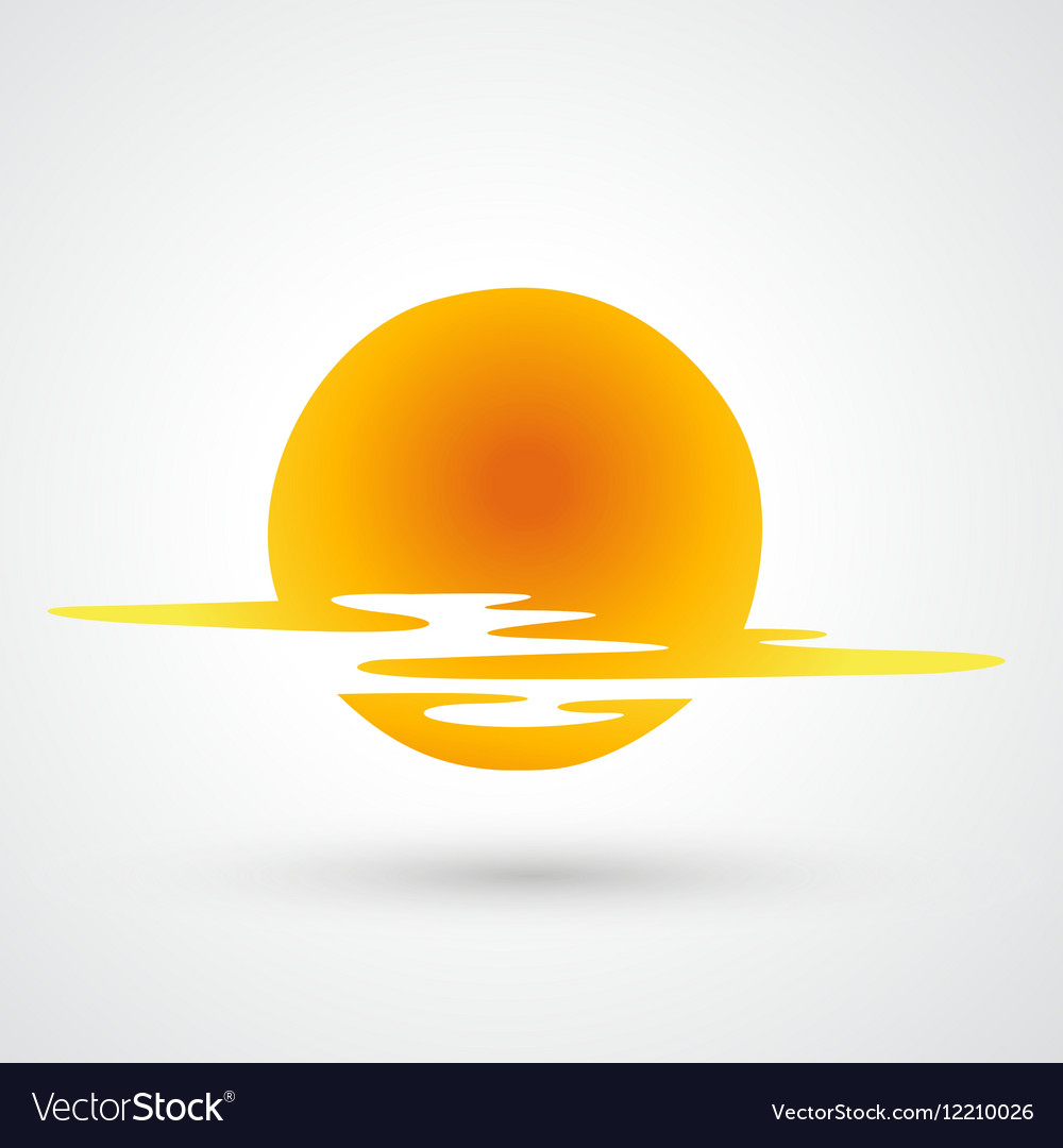 Sunset and sea waves vector image