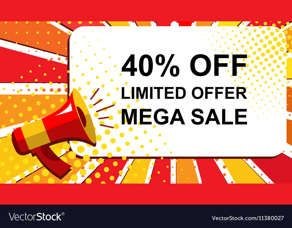 Megaphone with LIMITED OFFER MEGA SALE 40 PERCENT vector image