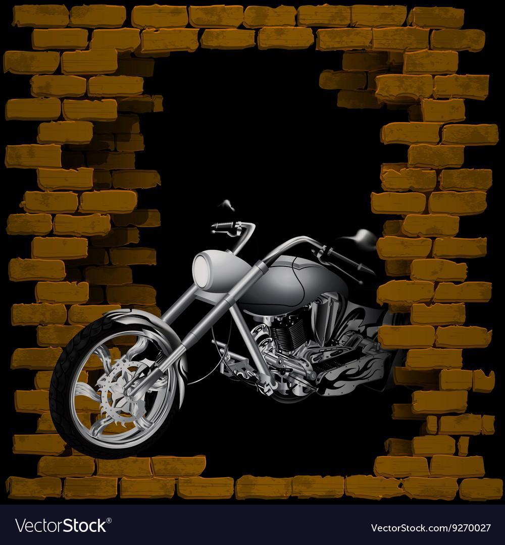 Motorbike chopper in breaking the brick wall vector image