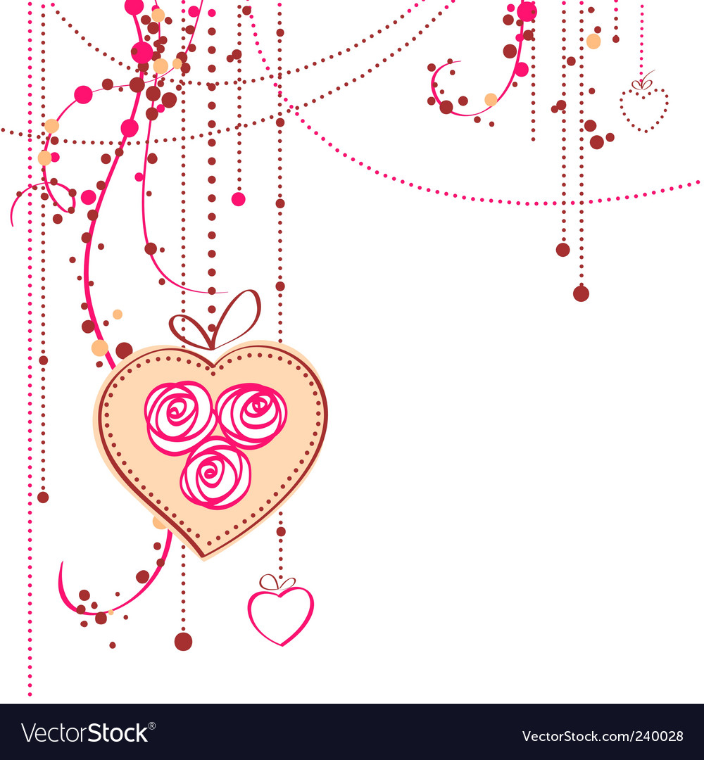 Background with rose and heart vector image