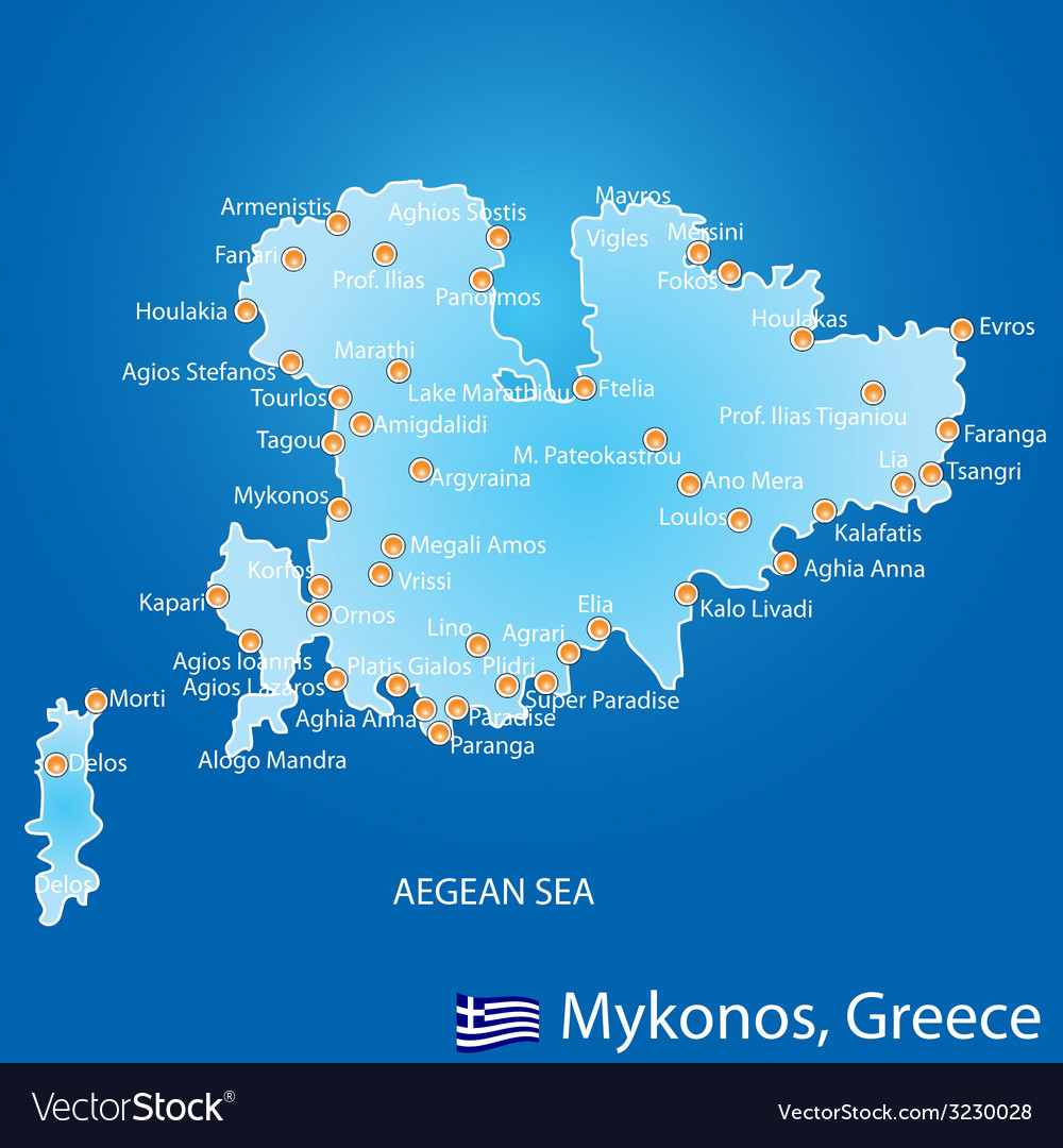 Island of Mykonos in Greece map Royalty Free Vector Image