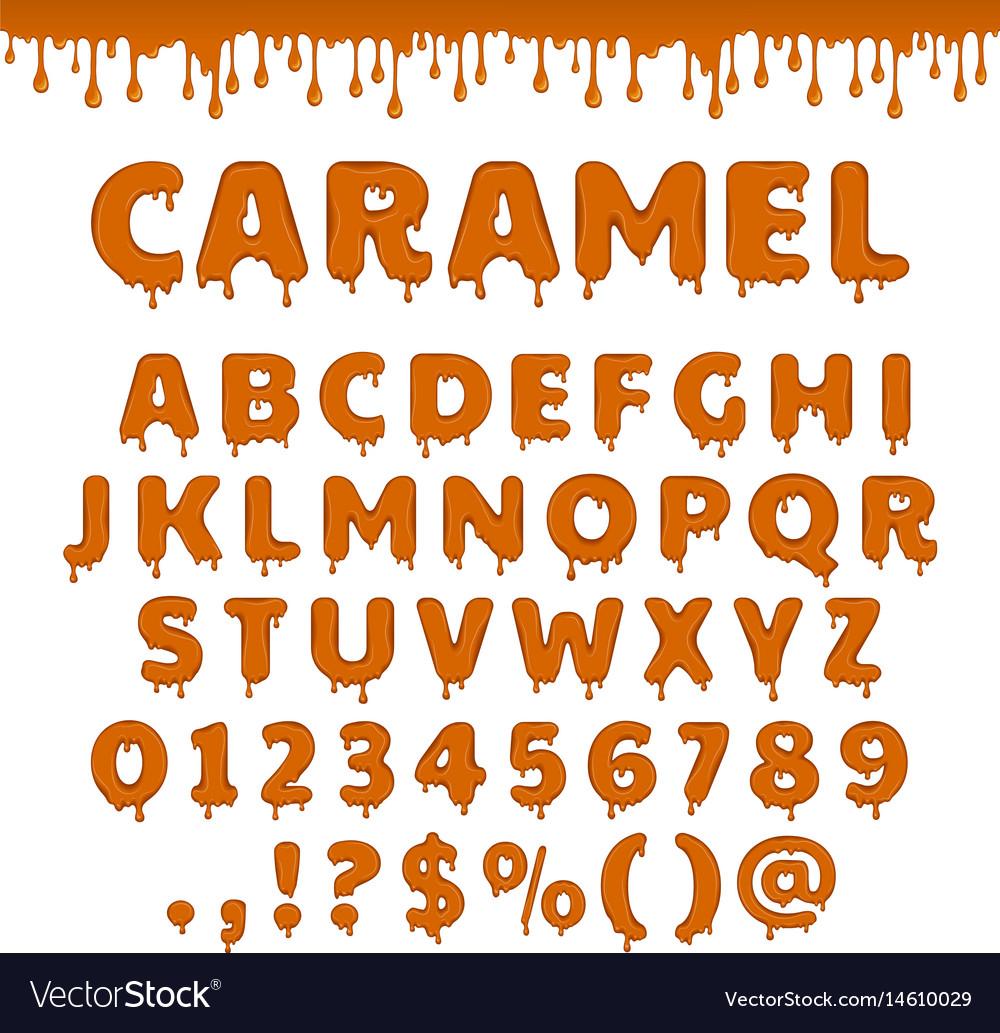 Caramel latin alphabet abc vector image