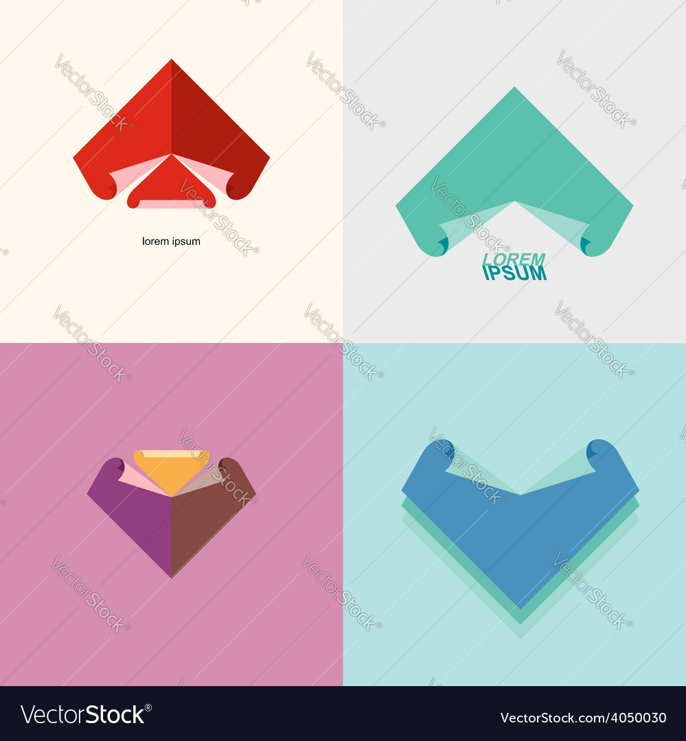 Set Abstract logo sheet of paper Technical drawing vector image