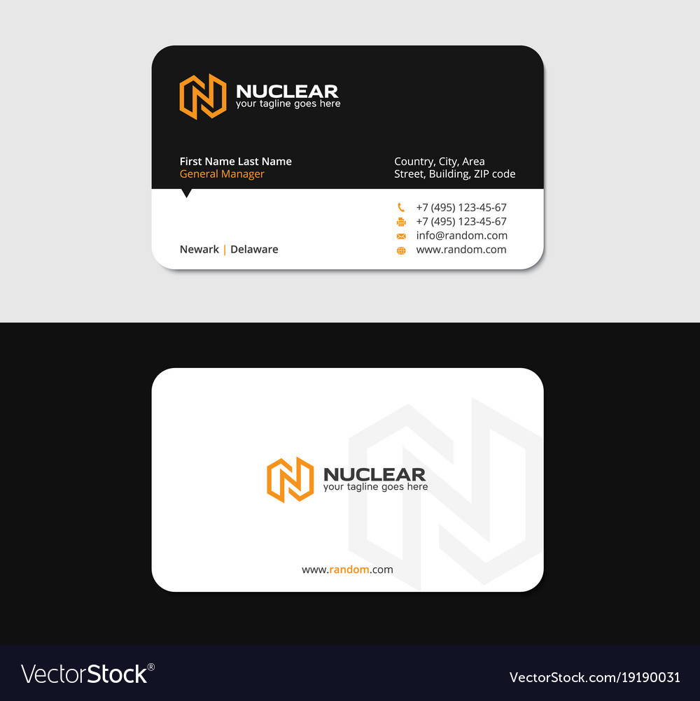 Business card with yellow n letter as thunderbolt Vector Image