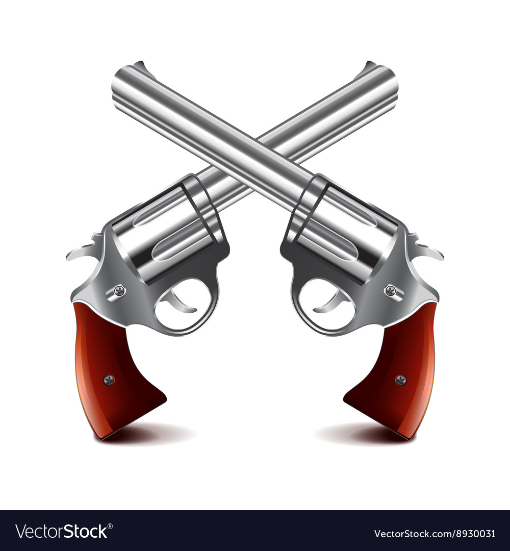 Crossed guns isolated on white vector image