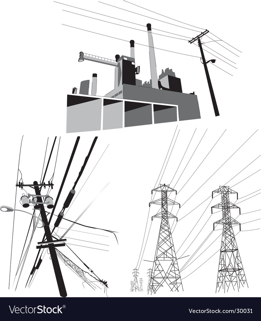 Electricity set of vector image