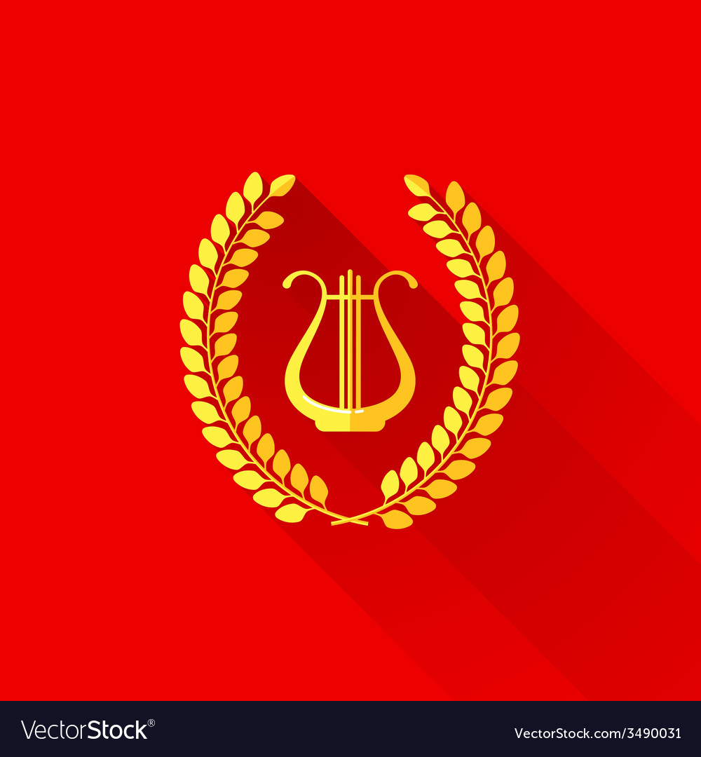 With laurel wreath and harp in flat style vector image