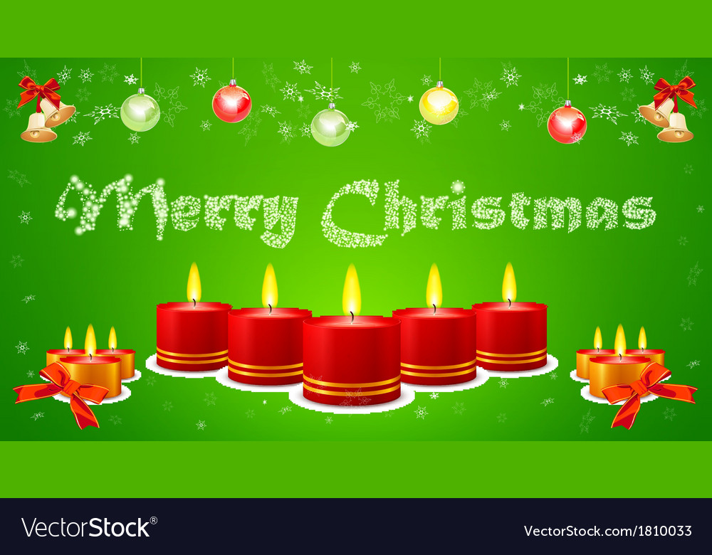Holiday image of burning candles on green vector image