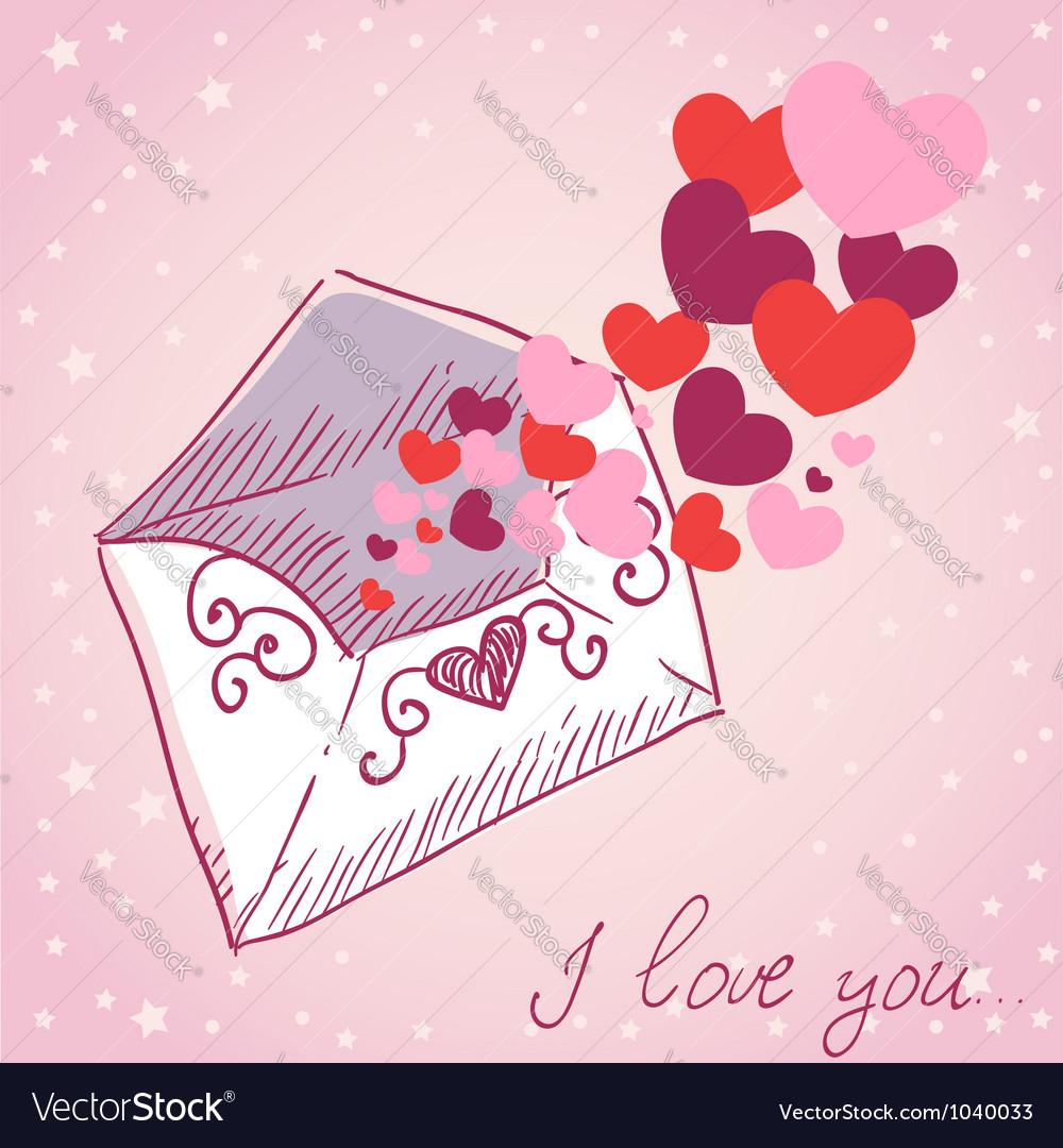 Love letter Valentine retro card vector image