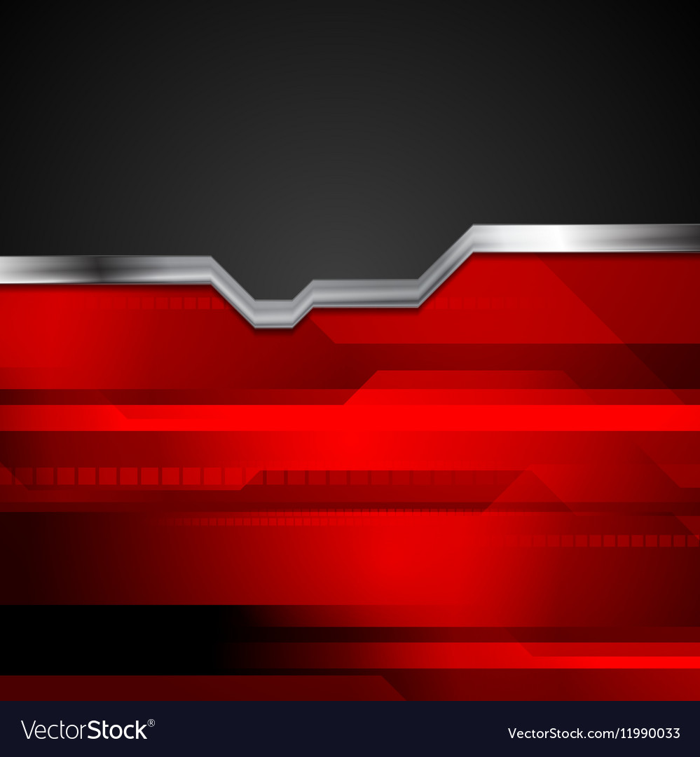 Red And Black Tech Metallic Style Background Vector Image