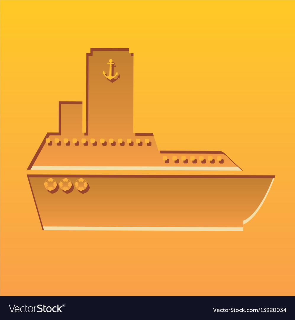 Color background with carved boat vector image