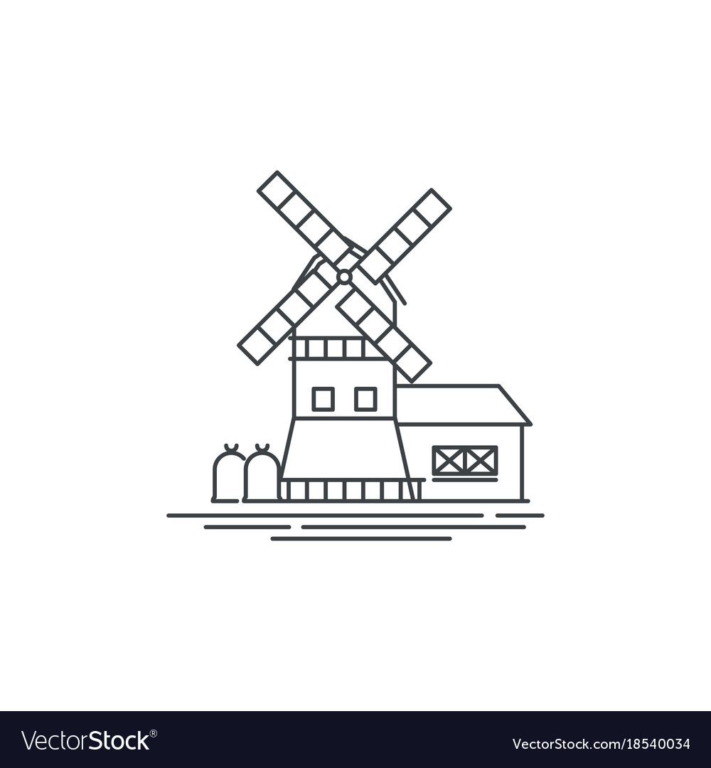 Farm windmill line icon outline of vector image