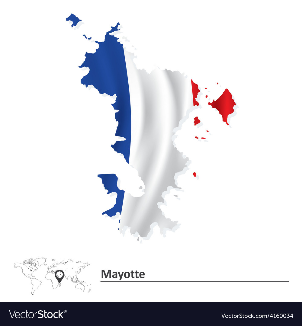 Map of Mayotte with flag Royalty Free Vector Image