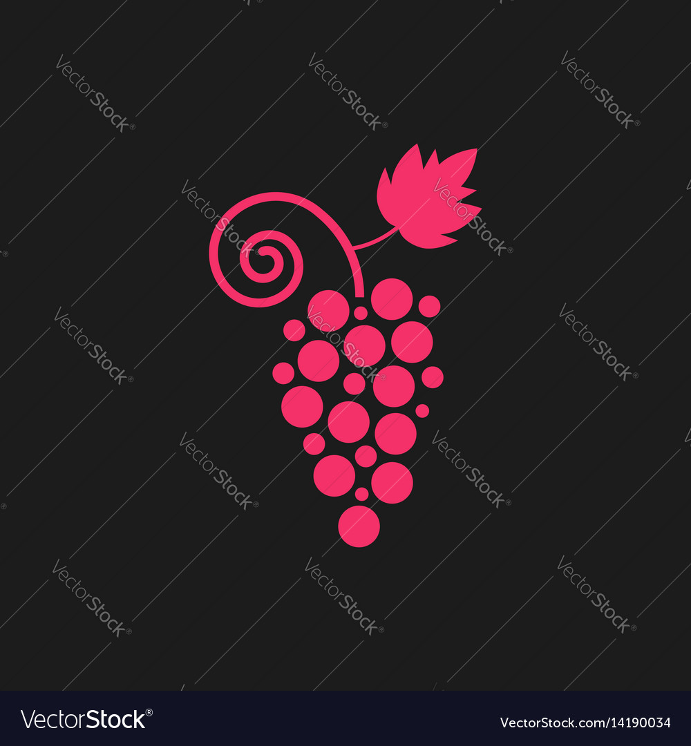 Pink grape icon on black background vector image