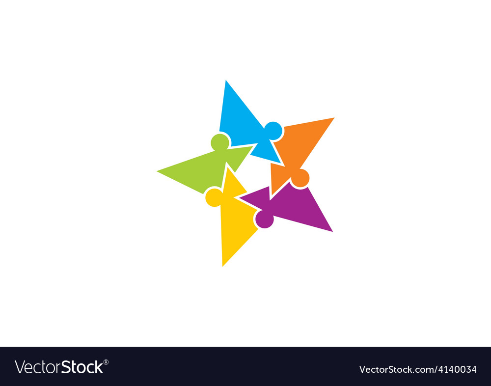 Star puzzle people diversity logo vector image