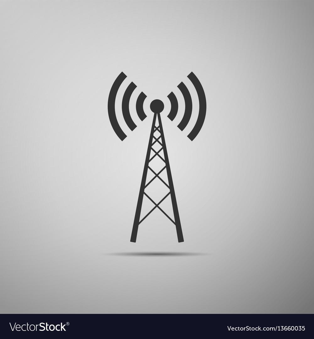 Antenna flat icon on grey background vector image