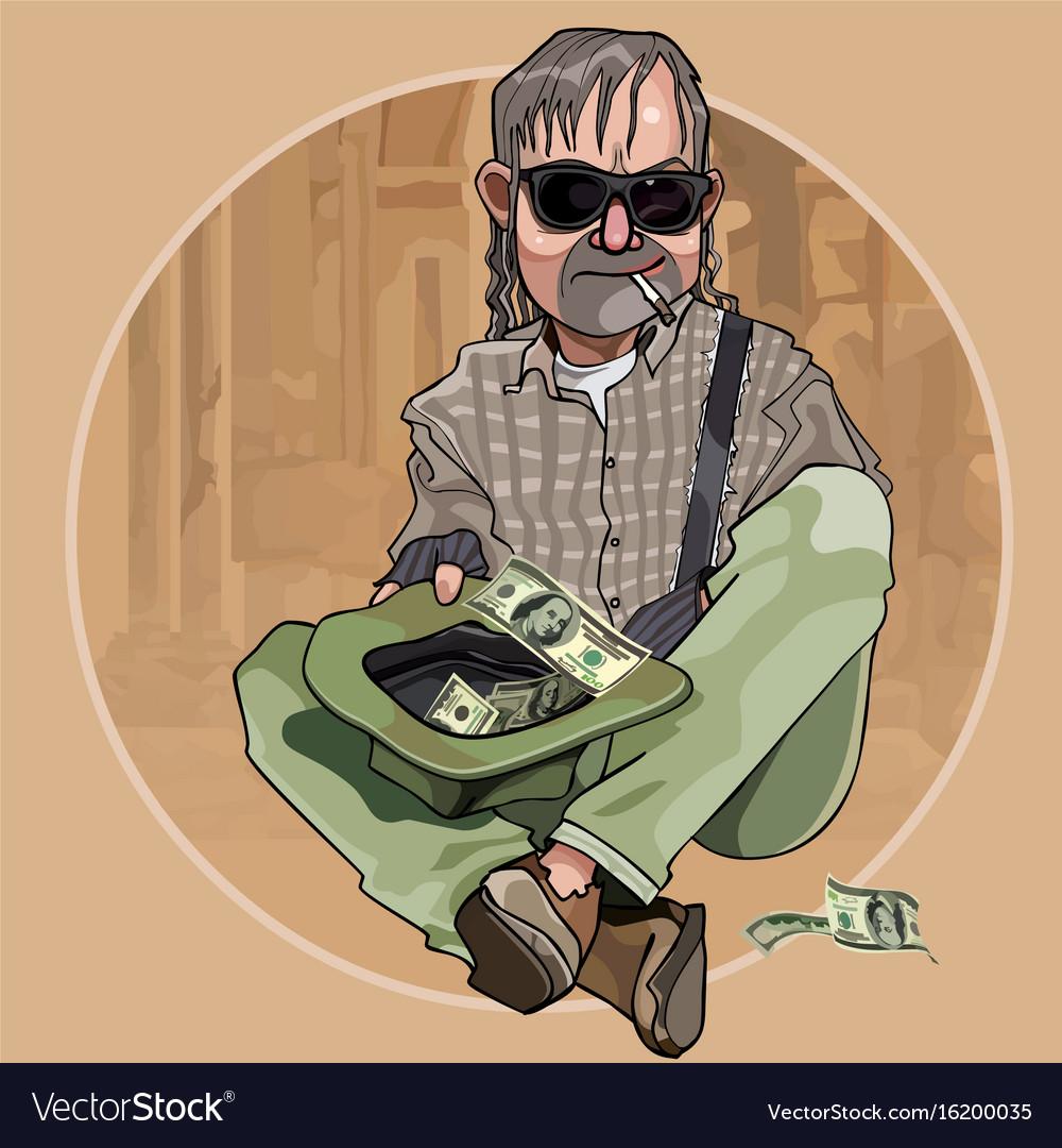 Cartoon homeless man begging dollars in a hat vector image