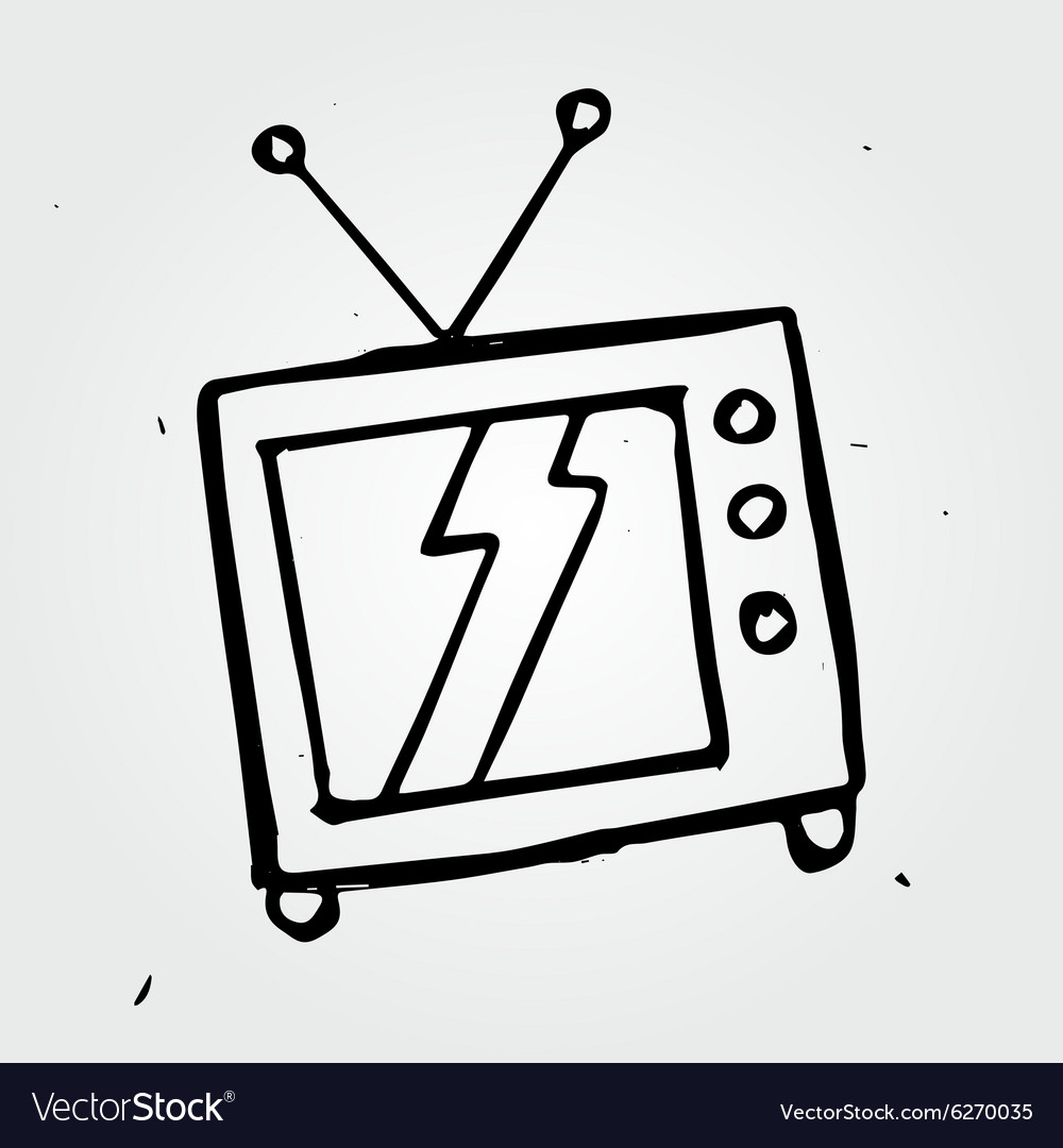 Hand drawn TV vector image