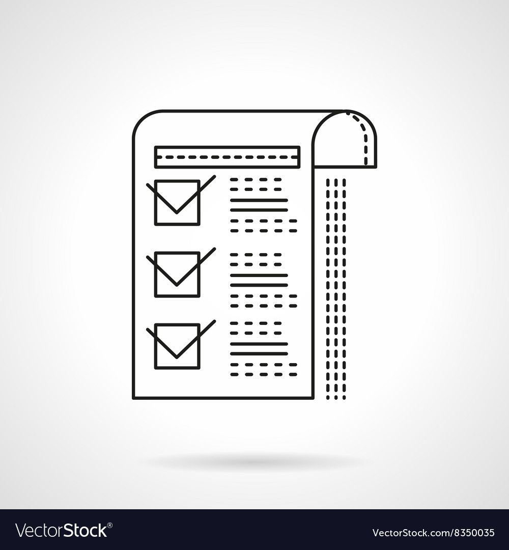 Paper with checkboxes flat line icon vector image